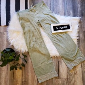 Green Velour Lounge Pants with lace cuffs